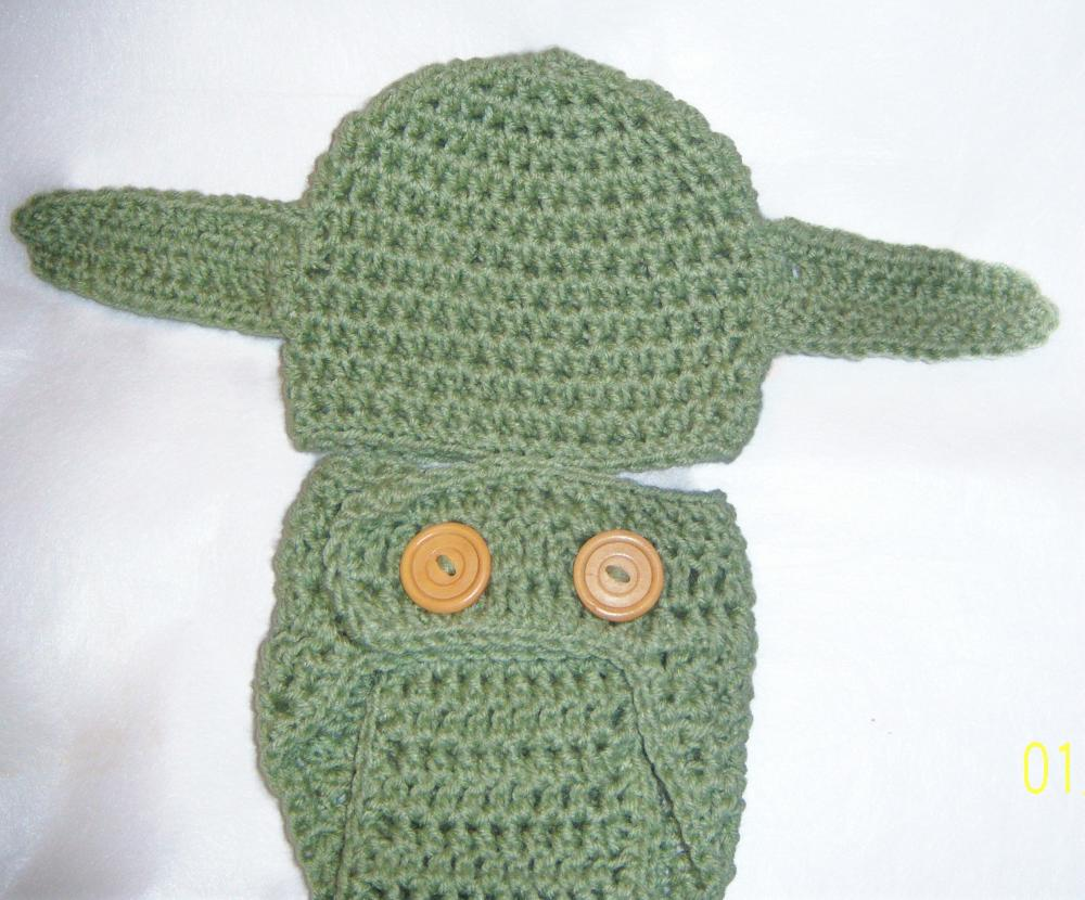 Newborn - 3months star wars inspired yoda baby hat and diaper cover set adorable photo prop, baby shower gift